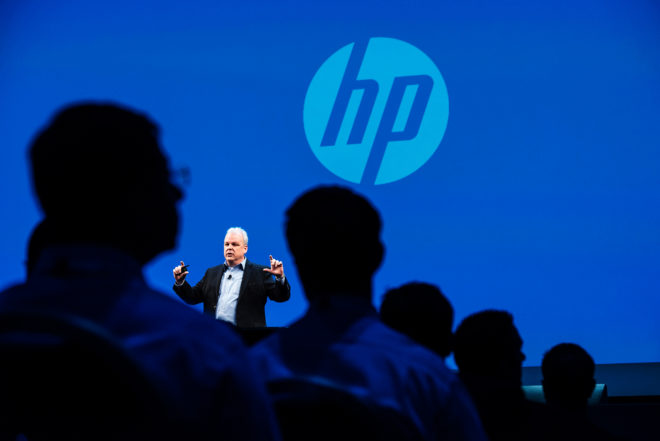 Martin Fink, chief technology officer of Hewlett-Packard Co., speaks during the HP Discover 2015 conference in Las Vegas, Nevada, U.S., on Wednesday, June 3, 2015. Hewlett Packard Enterprise, the business-focused company to be created in Hewlett-Packard's split later this year, will focus on four strategic areas, Chief Executive Officer Meg Whitman said. Photographer: David Paul Morris/Bloomberg via Getty Images